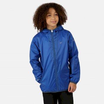 Lever II leichte, wasserdichte Walkingjacke mit Kapuze für Kinder Blau