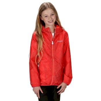 Regatta Kids' Printed Lever Packaway Waterproof Jacket - Fiery Coral