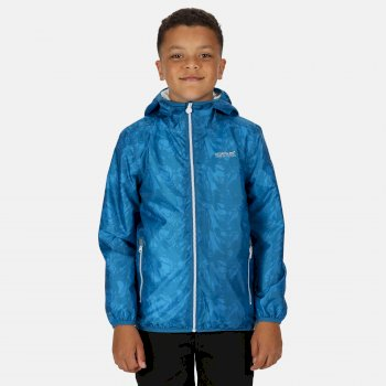 Regatta Kids' Printed Lever Packaway Lightweight Waterproof Walking Jacket - Nautical Blue