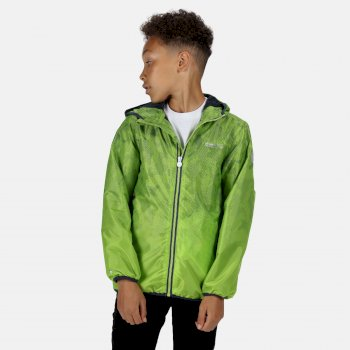 Regatta Kids' Printed Lever Packaway Waterproof Jacket - Electric Lime