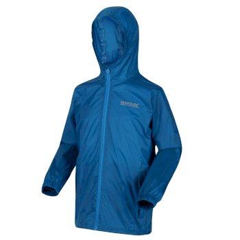Pack It leichte, wasserdichte Walkingjacke mit Kapuze für Kinder Blau