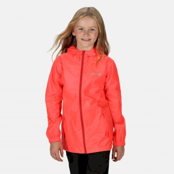 Regatta Kids' Pack It Lightweight Waterproof Hooded Packaway Walking Jacket - Fiery Coral