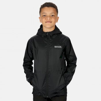 Regatta Kids' Pack It Lightweight Waterproof Hooded Packaway Walking Jacket - Black