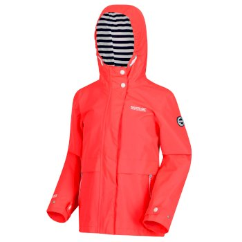 Regatta Kids' Bambalina Lightweight Hooded Waterproof Jacket Fiery Coral