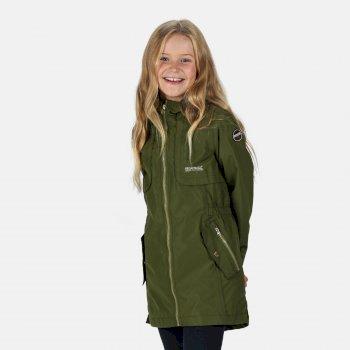 Tarana wasserdichte langgeschnittene Jacke für Kinder Grün
