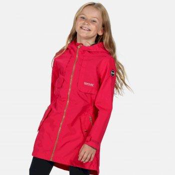 Tarana wasserdichte langgeschnittene Jacke für Kinder Rosa