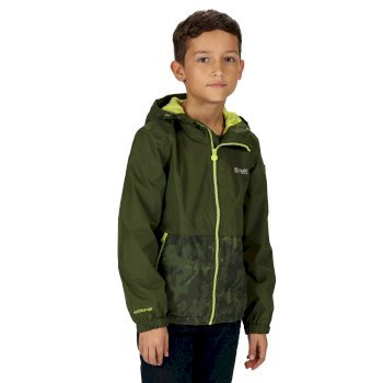 Regatta Kids' Haskel Waterproof Jacket - Racing Green Camo