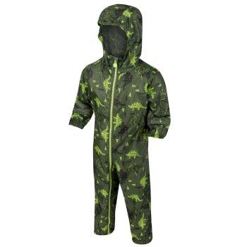 Pobble bedruckter, atmungsaktiver, wasserdichter Regenanzug für Kinder Grün
