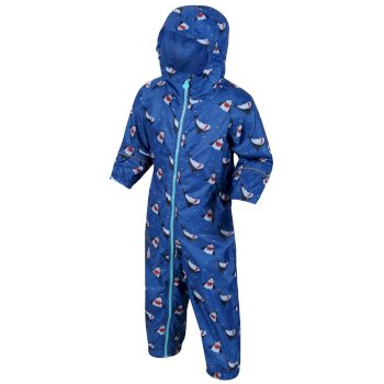 Regatta Kids' Pobble Printed Rainsuit - Nautical Blue