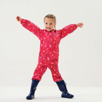 Pobble bedruckter, atmungsaktiver, wasserdichter Regenanzug für Kinder Rosa