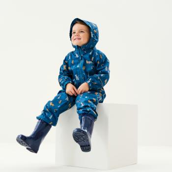 Pobble bedruckter, atmungsaktiver, wasserdichter Regenanzug für Kinder Blau