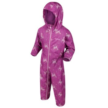 Regatta Kids' Pobble Printed Rainsuit - Radiant Orchid Pink