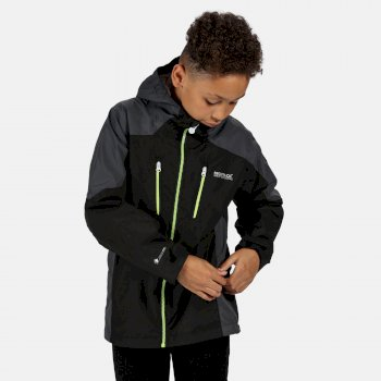 Regatta Kids' Calderdale Waterproof Jacket - Black Seal Grey