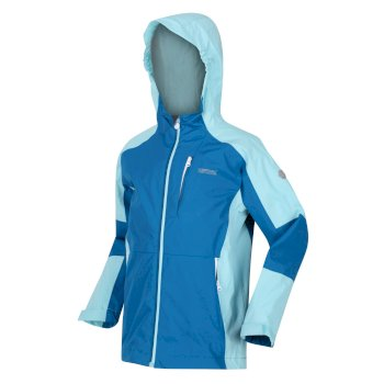 Regatta Kids' Calderdale II Waterproof Hooded Walking Jacket - Blue Aster Cool Aqua
