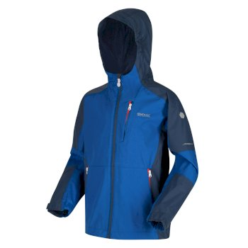Regatta Kids' Calderdale II Waterproof Hooded Walking Jacket - Nautical Blue Dark Denim