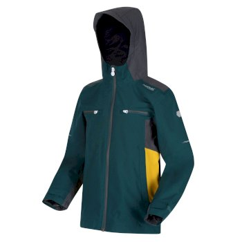 Regatta Kids' Highton Waterproof Hooded Walking Jacket - Deep Teal Seal Grey