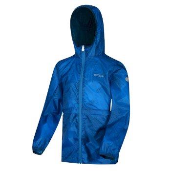 Bagley II wasserdichte Packaway-Walkingjacke mit Kapuze für Kinder Blau