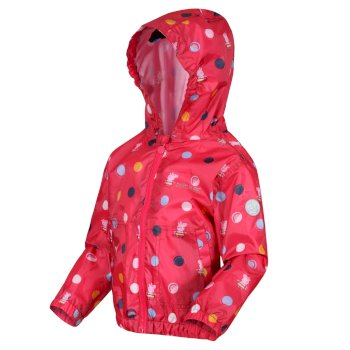 Regatta Peppa Pig Muddy Puddle Waterproof Hooded Jacket - Bright Blush Polka