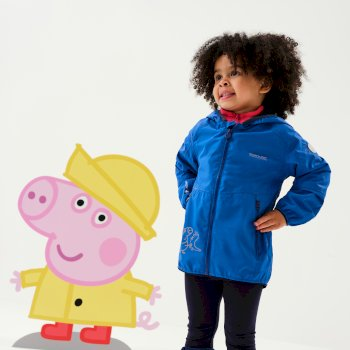 Regatta Peppa Pig Reflective Active Waterproof Hooded Jacket - Oxford Blue Dino