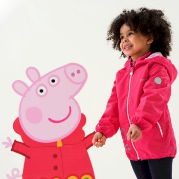 Regatta Peppa Pig Reflective Active Waterproof Hooded Jacket - Bright Blush Floral