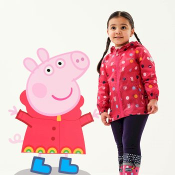 Regatta Peppa Pig Waterproof Hooded Pack-It Jacket - Bright Blush Polka