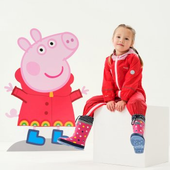 Regatta Peppa Pig Charco Breathable Waterproof Puddle Suit - Pink Mist