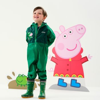 Regatta Peppa Pig Charco Breathable Waterproof Puddle Suit - Jelly Bean Dinosaur