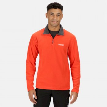 Thompson - Herren Fleecepullover - halblanger Reißverschluss Orange