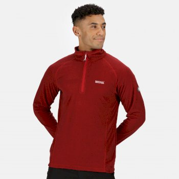Regatta Men's Montes Lightweight Half Zip Mini Stripe Fleece - Chinese Red Black