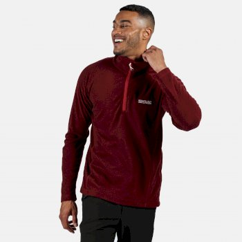 Regatta Men's Montes Lightweight Half Zip Mini Stripe Fleece - Delhi Red