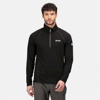 Men's Montes Lightweight Half Zip Mini Stripe Fleece Black