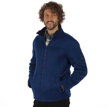 Regatta Palin Heavyweight Knit Effect Full Zip Bonded Fleece Navy