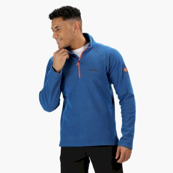 Regatta Men's Kenger Half-Zip Mid Weight Honeycomb Fleece Oxford Blue Blaze Orange