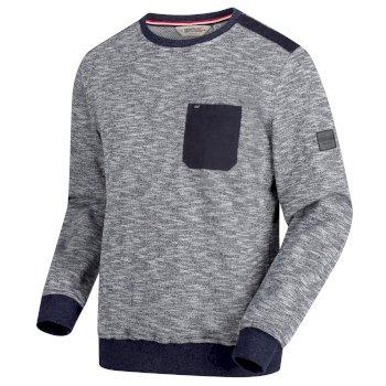 Sandor Herren-Sweatshirt mit Brusttasche blau-meliert