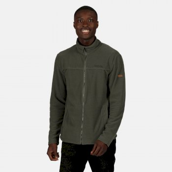Regatta Men's Earvin Full Zip Mid Weight Fleece - Dark Khaki Grid