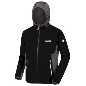 Kinver - Herren Fleecejacke mit Kapuze - Stretch Black Magnet Grey
