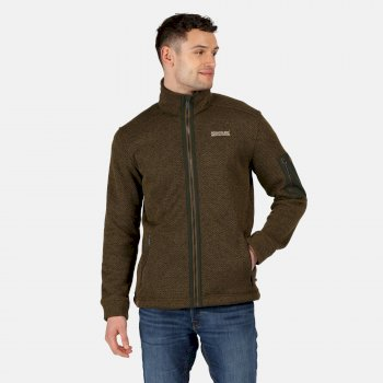 Regatta Men's Garret Heavyweight Knitted Full Zip Fleece - Camo Green Bayleaf