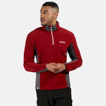 Regatta Men's Boswell Half Zip Grid Fleece - Delhi Red Magnet Grey