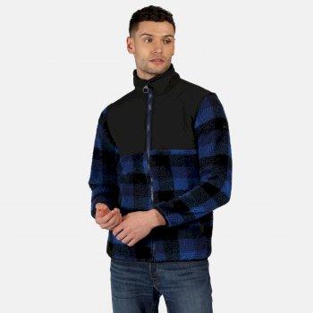 Cadao robustes Fleece mit durchgehendem Reißverschluss für Herren Blau