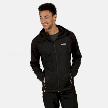 Regatta Men's Brookfeld Full Zip Hooded Marl Walking Fleece - Ash Black