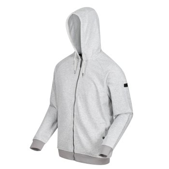 Regatta Men's Leontel Full Zip Hooded Marl Fleece - Light Steel Marl