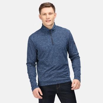 Edley zweifarbiges Fleece mit halblangem Reißverschluss für Herren Blau