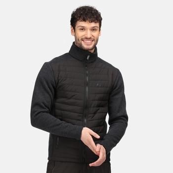 Arkley robustes, gestepptes Fleece mit durchgehendem Reißverschluss für Herren Schwarz