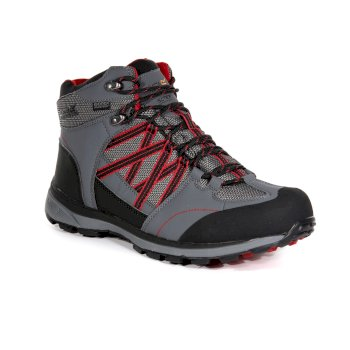 Regatta Men's Samaris II Mid Walking Boots - Rock Grey Classic Red