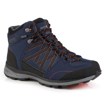 Regatta Men's Samaris II Mid Walking Boots - Navy Burnt Salmon