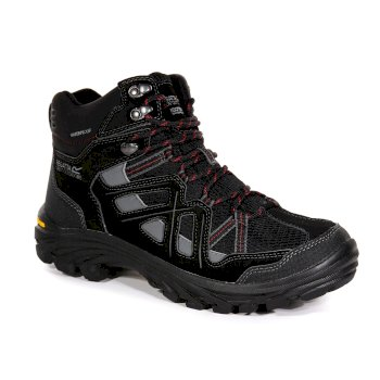 Regatta Men's Burrell II Waterproof Vibram Walking Boots - Black Granite