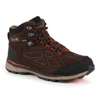 Regatta Men's Samaris Suede Waterproof Walking Boots - Peat Burnt Salmon