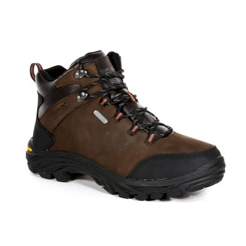Regatta Men's Burrell Leather Waterproof Vibram Walking Boots - Peat