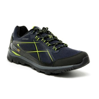 Men's Kota Low II Waterproof Walking Shoes - Navy Lime Green