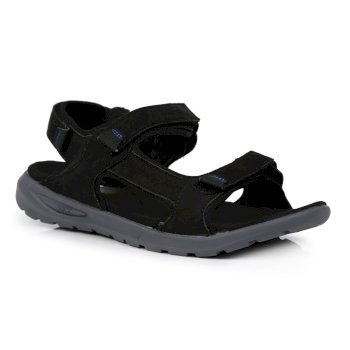 Men's Marine Leather Walking Sandals Schwarz